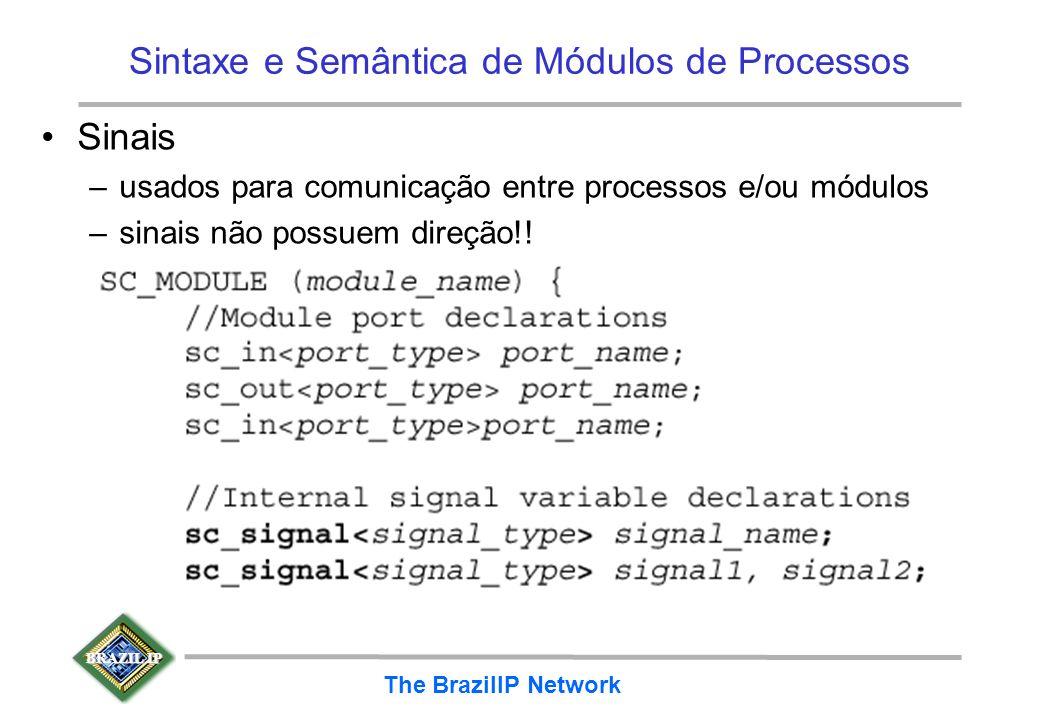 BRAZIL IP The BrazilIP Network Sintaxe e Semântica de Módulos de Processos Sinais –usados para comunicação entre processos e/ou módulos –sinais não po