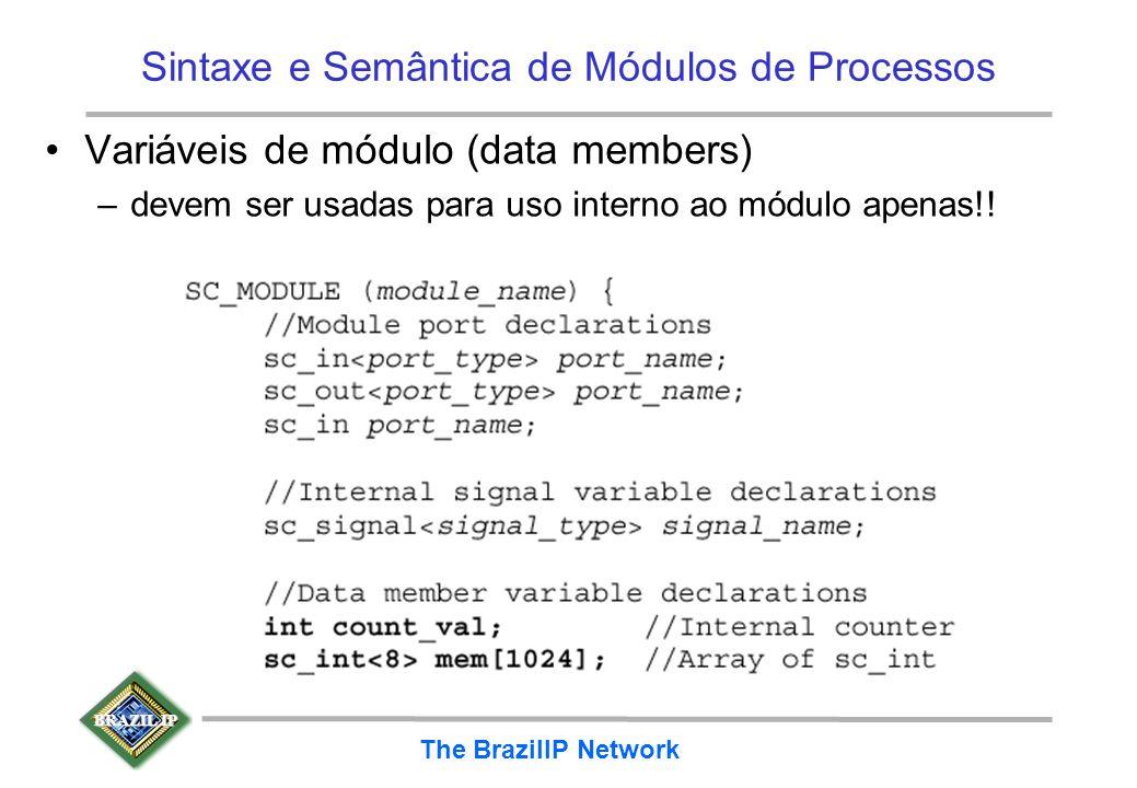 BRAZIL IP The BrazilIP Network Sintaxe e Semântica de Módulos de Processos Variáveis de módulo (data members) –devem ser usadas para uso interno ao mó