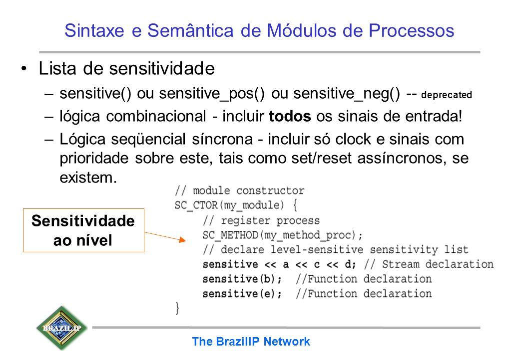 BRAZIL IP The BrazilIP Network Sintaxe e Semântica de Módulos de Processos Lista de sensitividade –sensitive() ou sensitive_pos() ou sensitive_neg() -