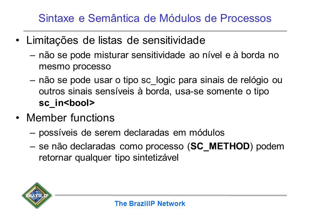 BRAZIL IP The BrazilIP Network Sintaxe e Semântica de Módulos de Processos Limitações de listas de sensitividade –não se pode misturar sensitividade a