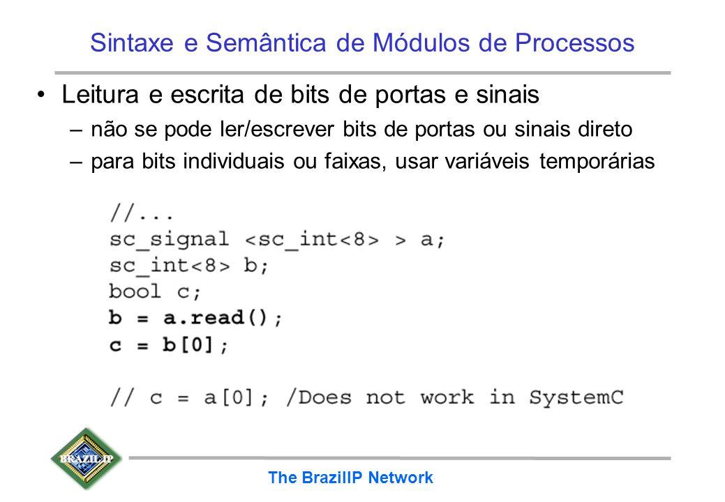 BRAZIL IP The BrazilIP Network Sintaxe e Semântica de Módulos de Processos Leitura e escrita de bits de portas e sinais –não se pode ler/escrever bits