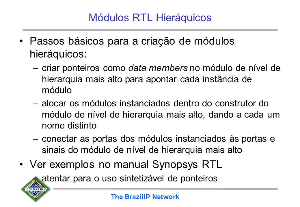 BRAZIL IP The BrazilIP Network Módulos RTL Hieráquicos Passos básicos para a criação de módulos hieráquicos: –criar ponteiros como data members no mód