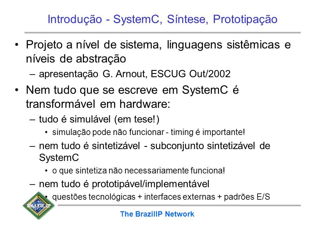 BRAZIL IP The BrazilIP Network Introdução - SystemC, Síntese, Prototipação Projeto a nível de sistema, linguagens sistêmicas e níveis de abstração –ap