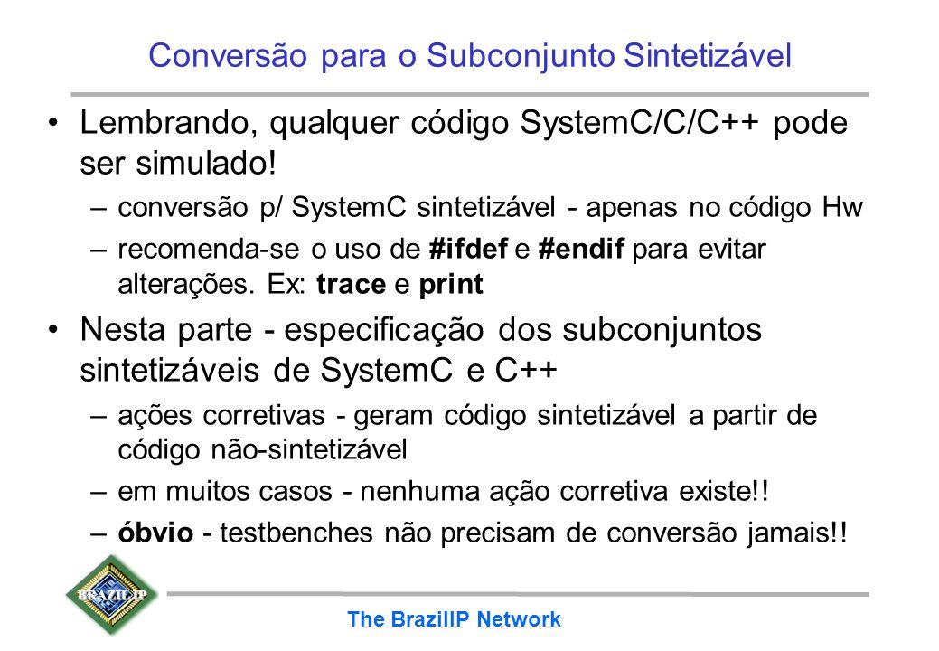 BRAZIL IP The BrazilIP Network Conversão para o Subconjunto Sintetizável Lembrando, qualquer código SystemC/C/C++ pode ser simulado! –conversão p/ Sys