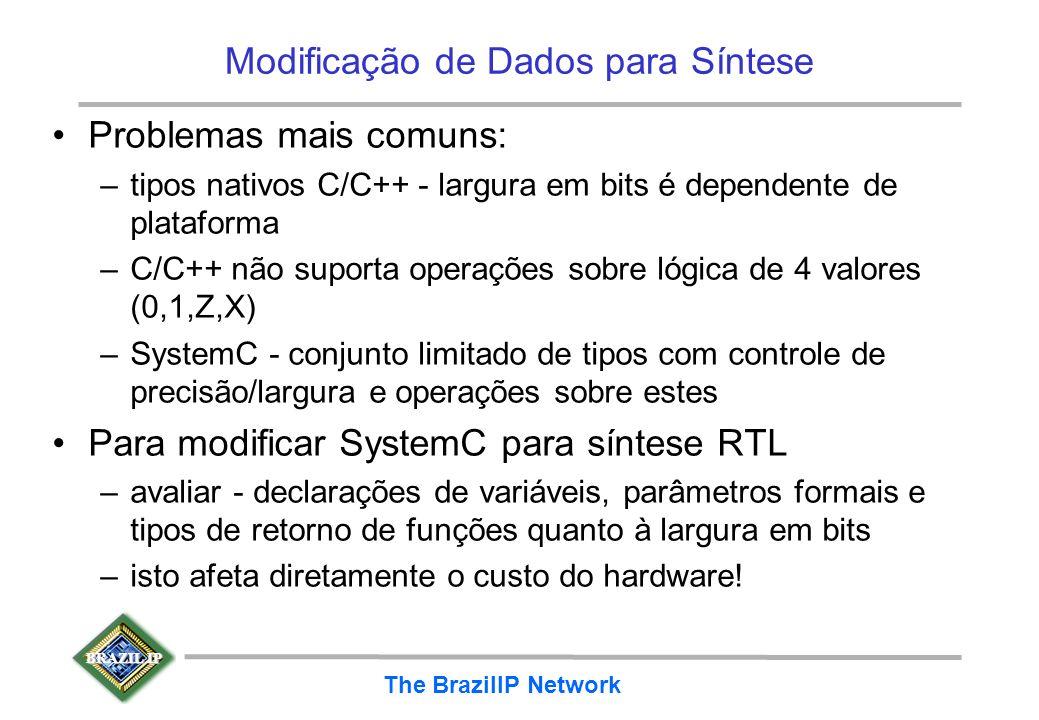 BRAZIL IP The BrazilIP Network Modificação de Dados para Síntese Problemas mais comuns: –tipos nativos C/C++ - largura em bits é dependente de platafo