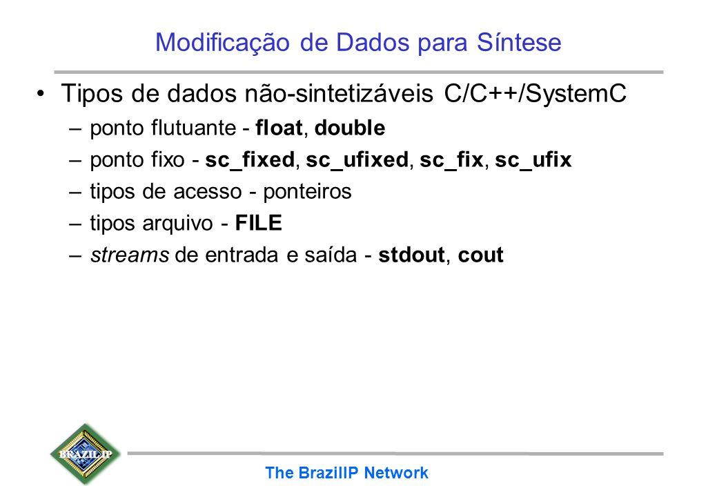BRAZIL IP The BrazilIP Network Modificação de Dados para Síntese Tipos de dados não-sintetizáveis C/C++/SystemC –ponto flutuante - float, double –pont
