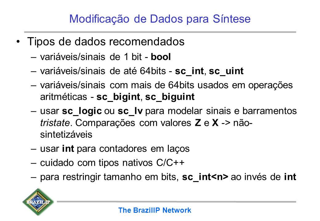 BRAZIL IP The BrazilIP Network Modificação de Dados para Síntese Tipos de dados recomendados –variáveis/sinais de 1 bit - bool –variáveis/sinais de at
