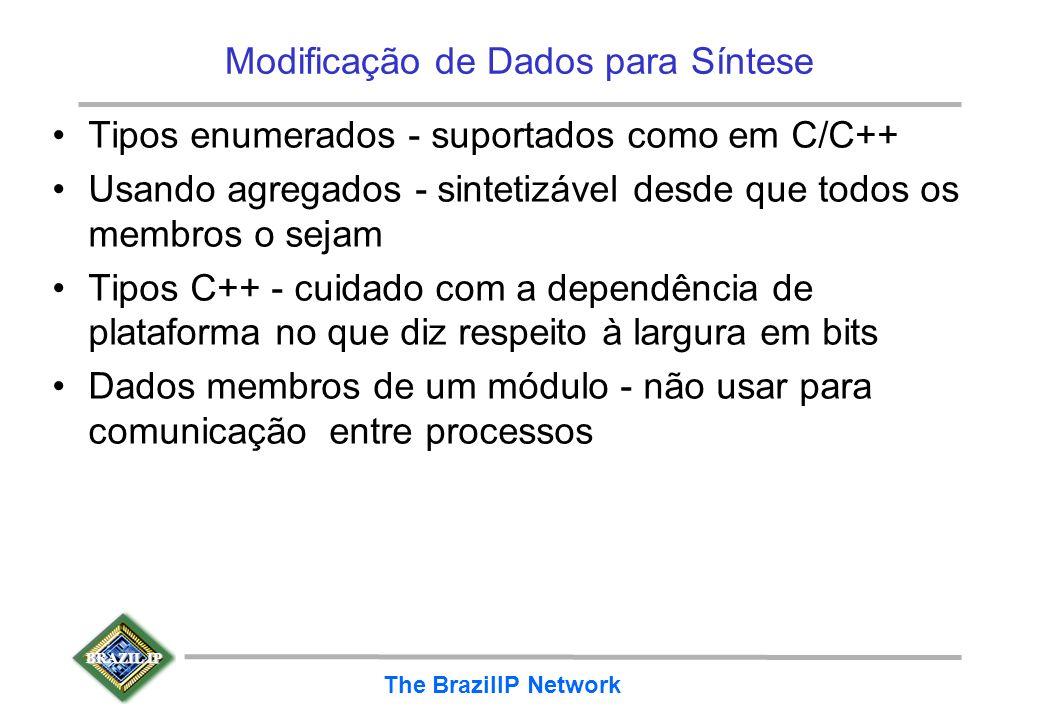 BRAZIL IP The BrazilIP Network Modificação de Dados para Síntese Tipos enumerados - suportados como em C/C++ Usando agregados - sintetizável desde que
