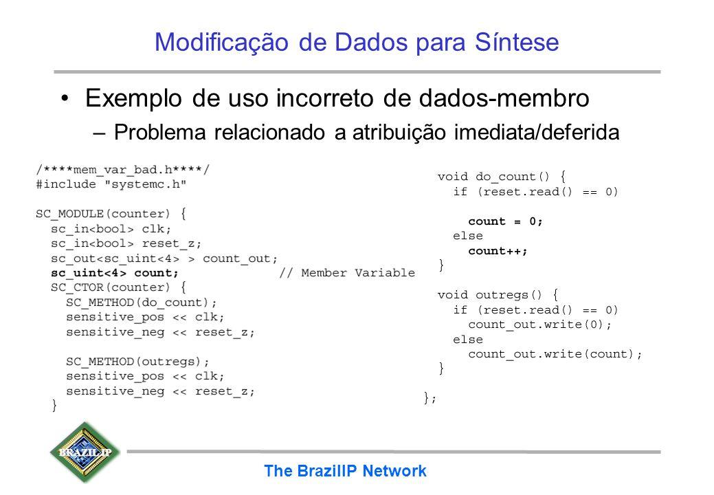 BRAZIL IP The BrazilIP Network Modificação de Dados para Síntese Exemplo de uso incorreto de dados-membro –Problema relacionado a atribuição imediata/
