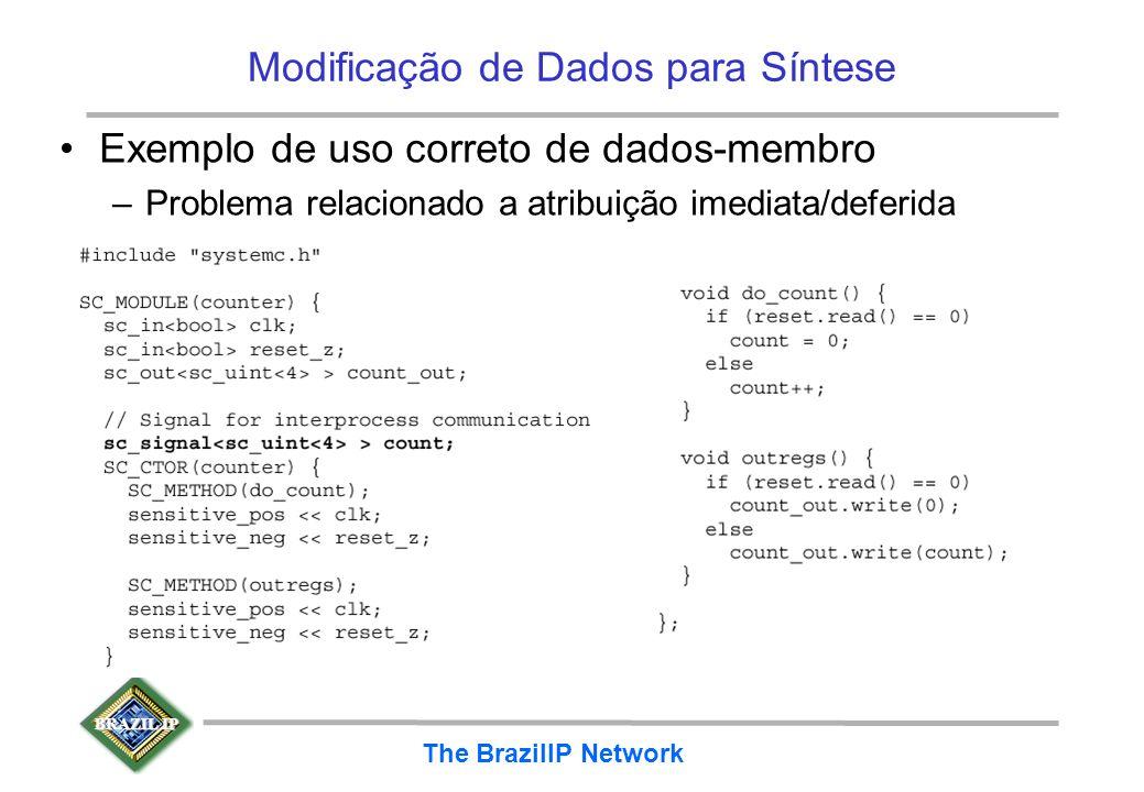 BRAZIL IP The BrazilIP Network Modificação de Dados para Síntese Exemplo de uso correto de dados-membro –Problema relacionado a atribuição imediata/de