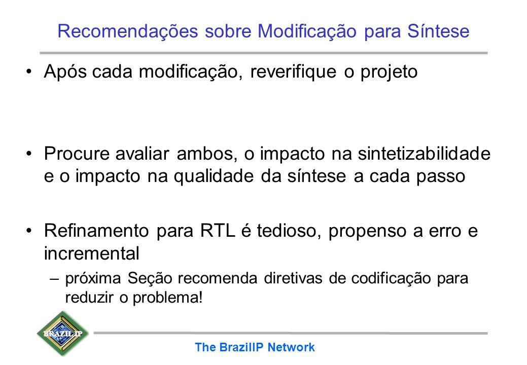 BRAZIL IP The BrazilIP Network Recomendações sobre Modificação para Síntese Após cada modificação, reverifique o projeto Procure avaliar ambos, o impa