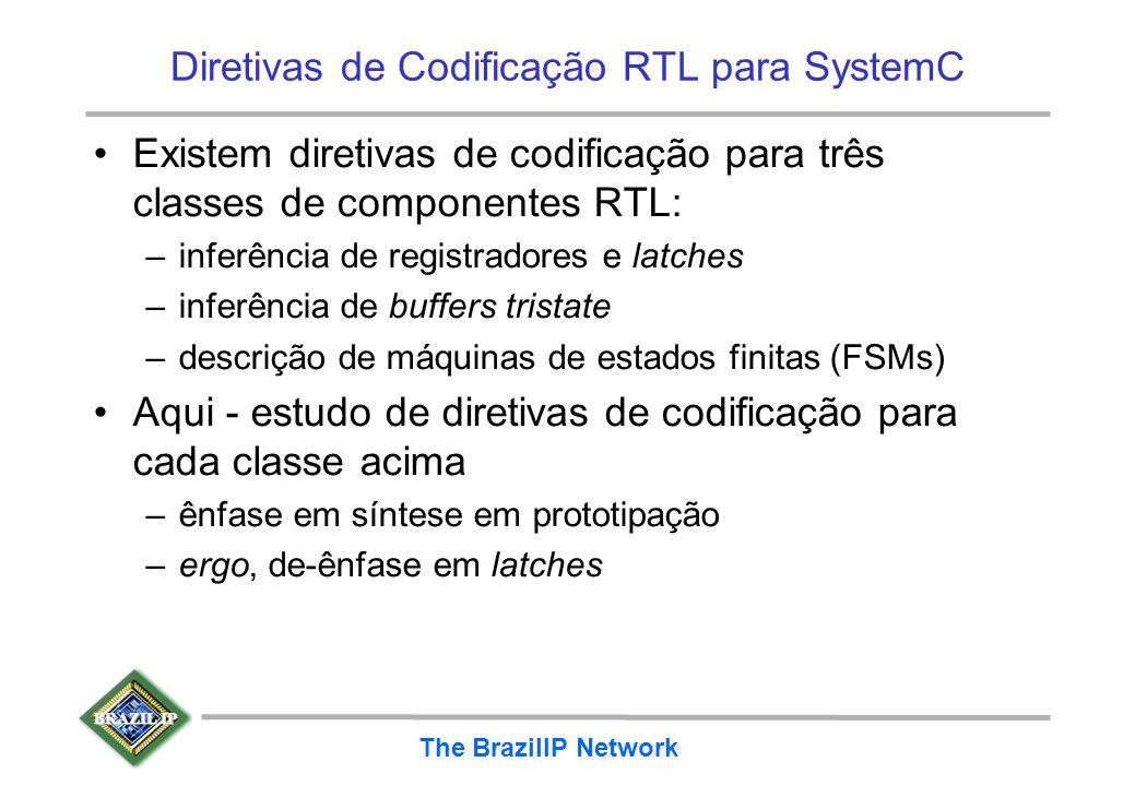 BRAZIL IP The BrazilIP Network Diretivas de Codificação RTL para SystemC Existem diretivas de codificação para três classes de componentes RTL: –infer