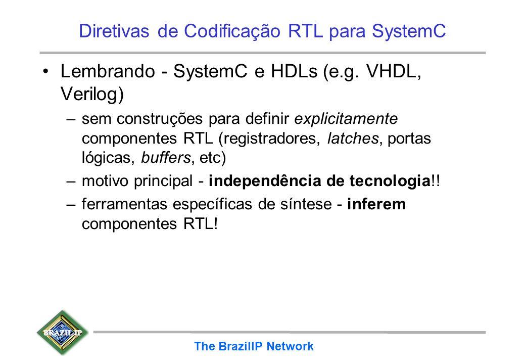 BRAZIL IP The BrazilIP Network Diretivas de Codificação RTL para SystemC Lembrando - SystemC e HDLs (e.g. VHDL, Verilog) –sem construções para definir