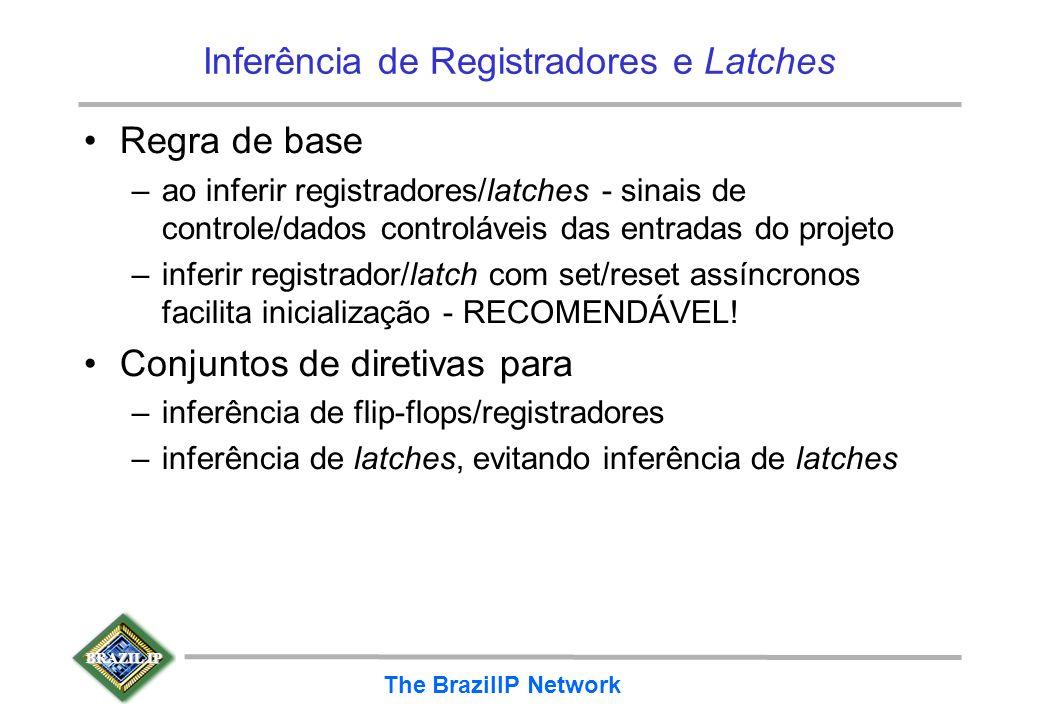 BRAZIL IP The BrazilIP Network Inferência de Registradores e Latches Regra de base –ao inferir registradores/latches - sinais de controle/dados contro
