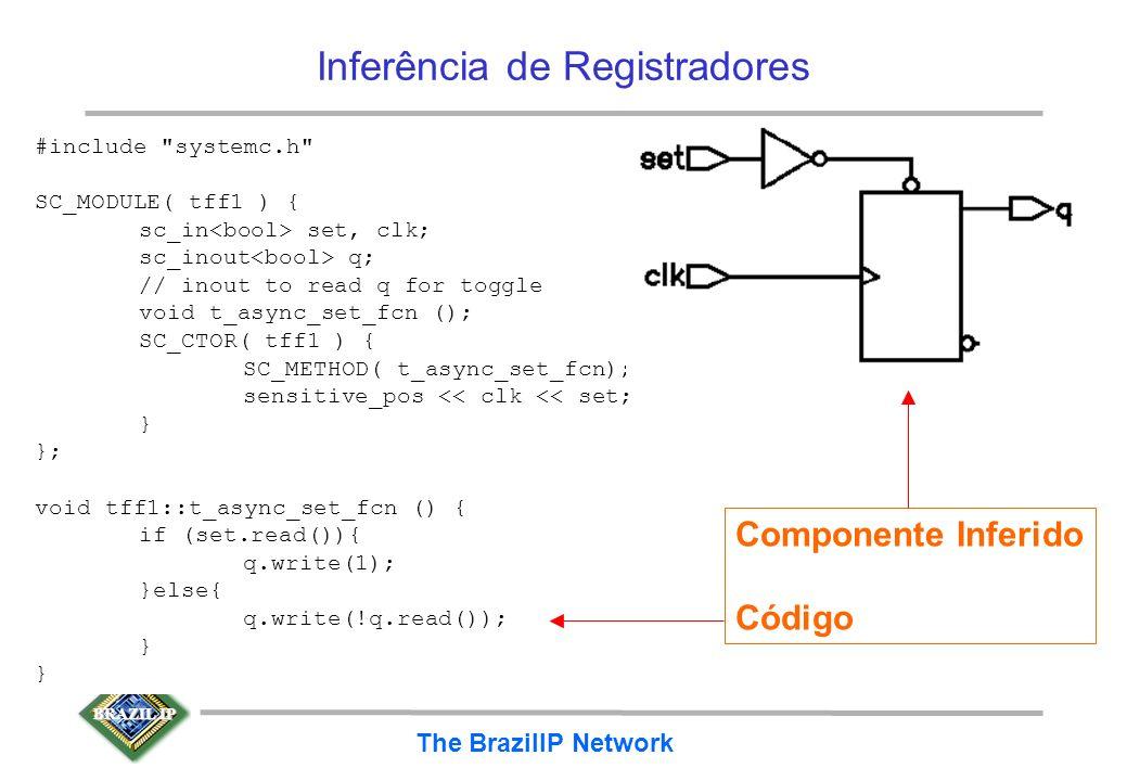 BRAZIL IP The BrazilIP Network Flip-flop Toggle com Set assíncrono –vários outras combinações com exemplos no manual RTL da Synopsys #include