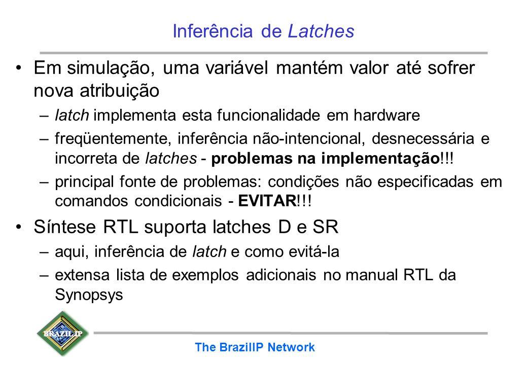 BRAZIL IP The BrazilIP Network Inferência de Latches Em simulação, uma variável mantém valor até sofrer nova atribuição –latch implementa esta funcion