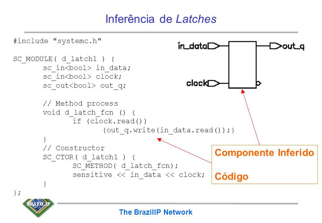 BRAZIL IP The BrazilIP Network Latch D inferido a partir de comando if –comando if sem cláusula else leva a inferência de latch! –latches são difíceis