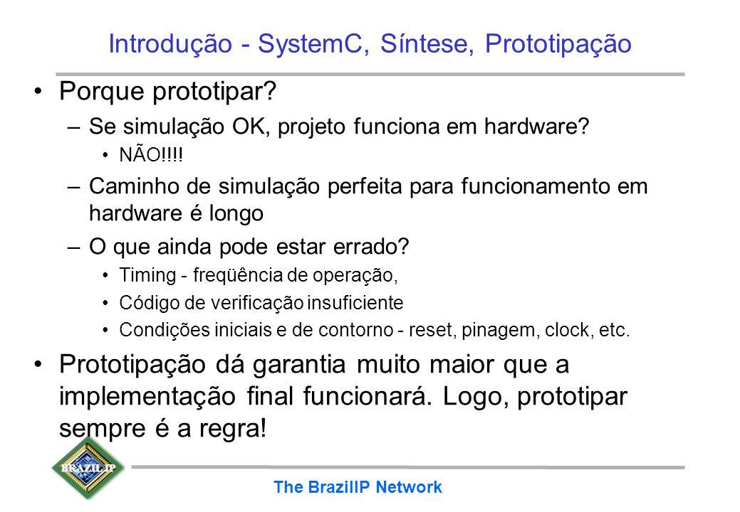 BRAZIL IP The BrazilIP Network Introdução - SystemC, Síntese, Prototipação Porque prototipar? –Se simulação OK, projeto funciona em hardware? NÃO!!!!