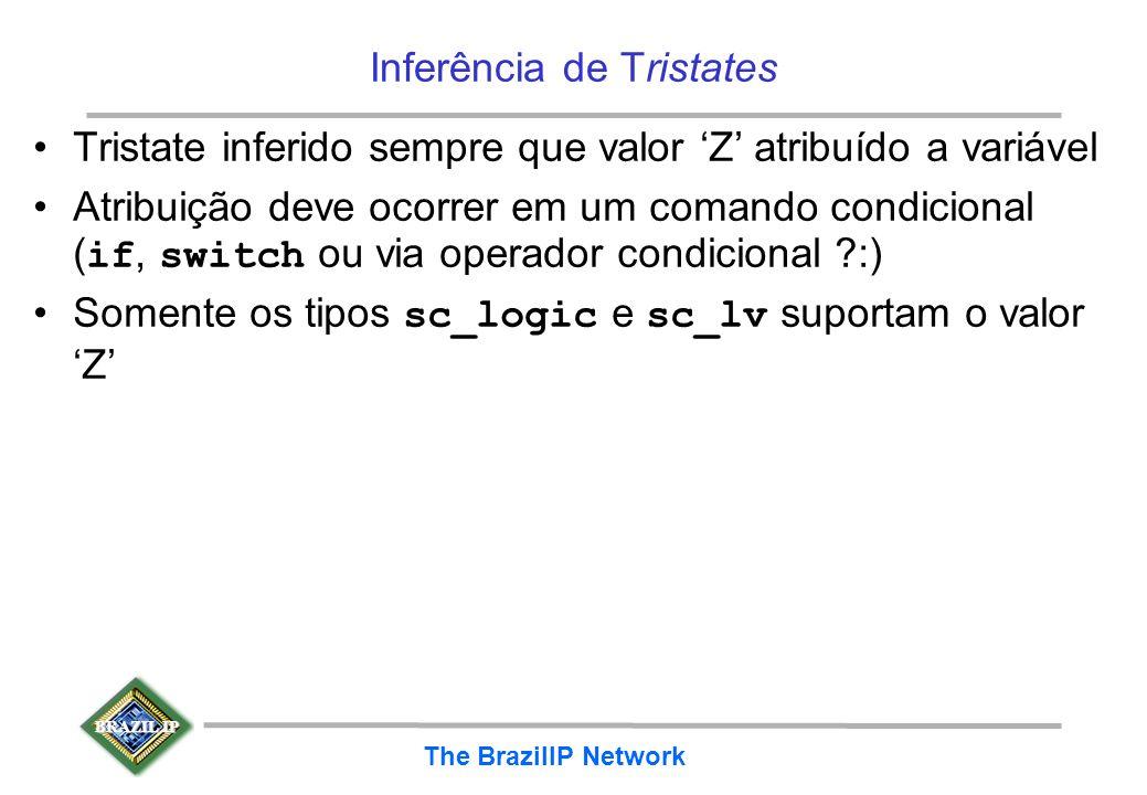 BRAZIL IP The BrazilIP Network Inferência de Tristates Tristate inferido sempre que valor Z atribuído a variável Atribuição deve ocorrer em um comando