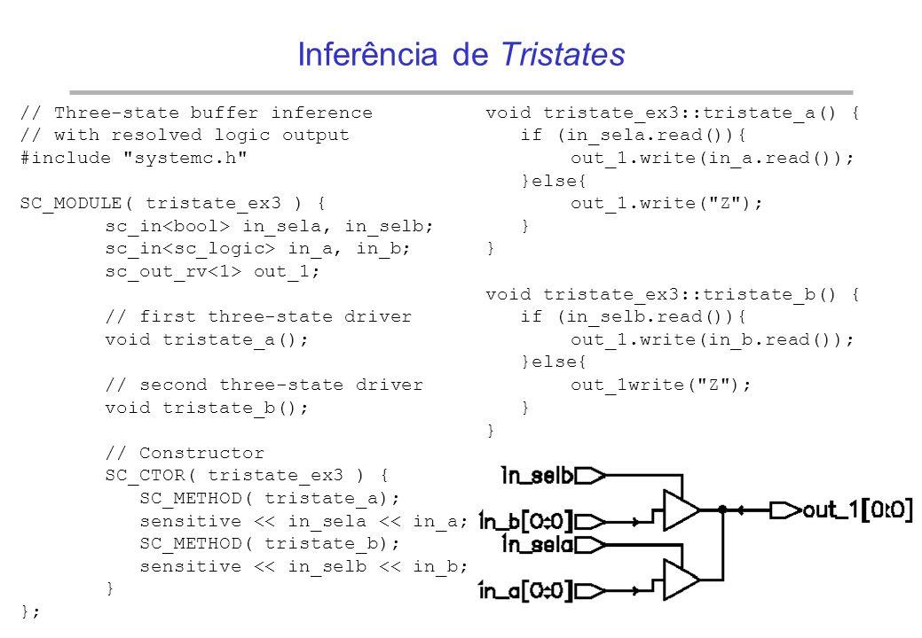 BRAZIL IP The BrazilIP Network Barramento tristate –notar a necessidade do uso de um tipo SystemC resolvido // Three-state buffer inference // with re