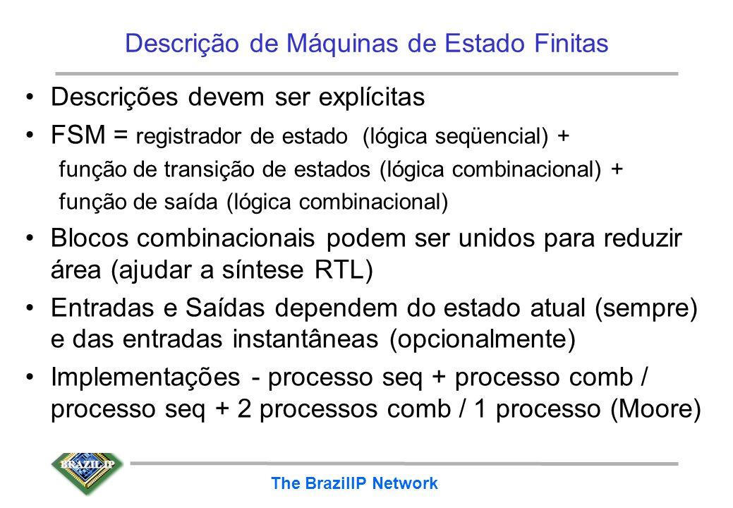 BRAZIL IP The BrazilIP Network Descrição de Máquinas de Estado Finitas Descrições devem ser explícitas FSM = registrador de estado (lógica seqüencial)