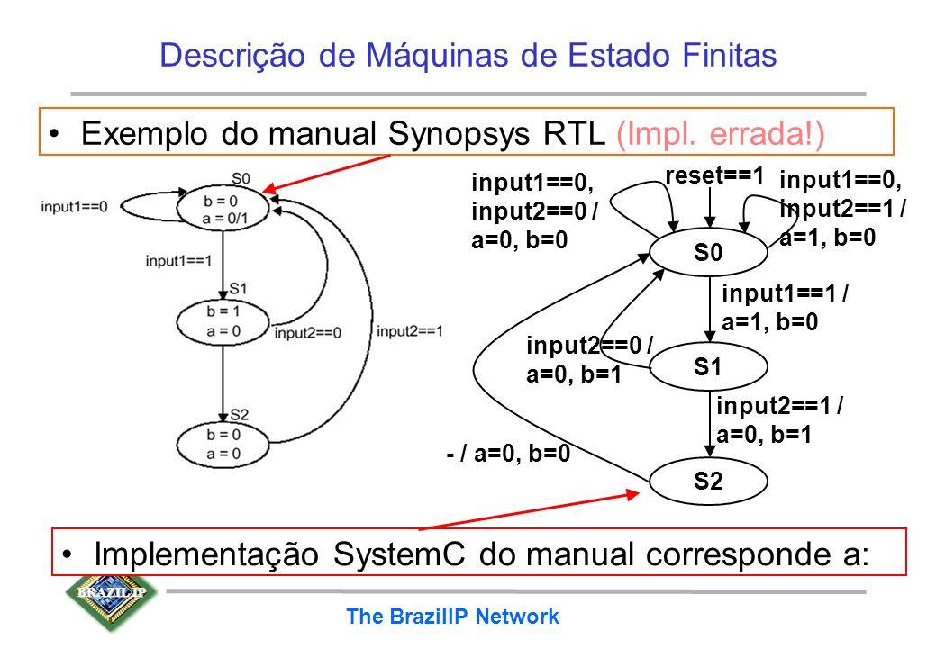 BRAZIL IP The BrazilIP Network Descrição de Máquinas de Estado Finitas Exemplo do manual Synopsys RTL (Impl. errada!) Implementação SystemC do manual