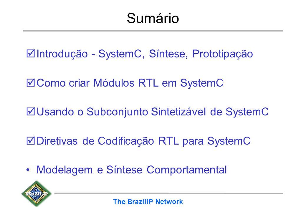 BRAZIL IP The BrazilIP Network Sumário þIntrodução - SystemC, Síntese, Prototipação þComo criar Módulos RTL em SystemC þUsando o Subconjunto Sintetizá
