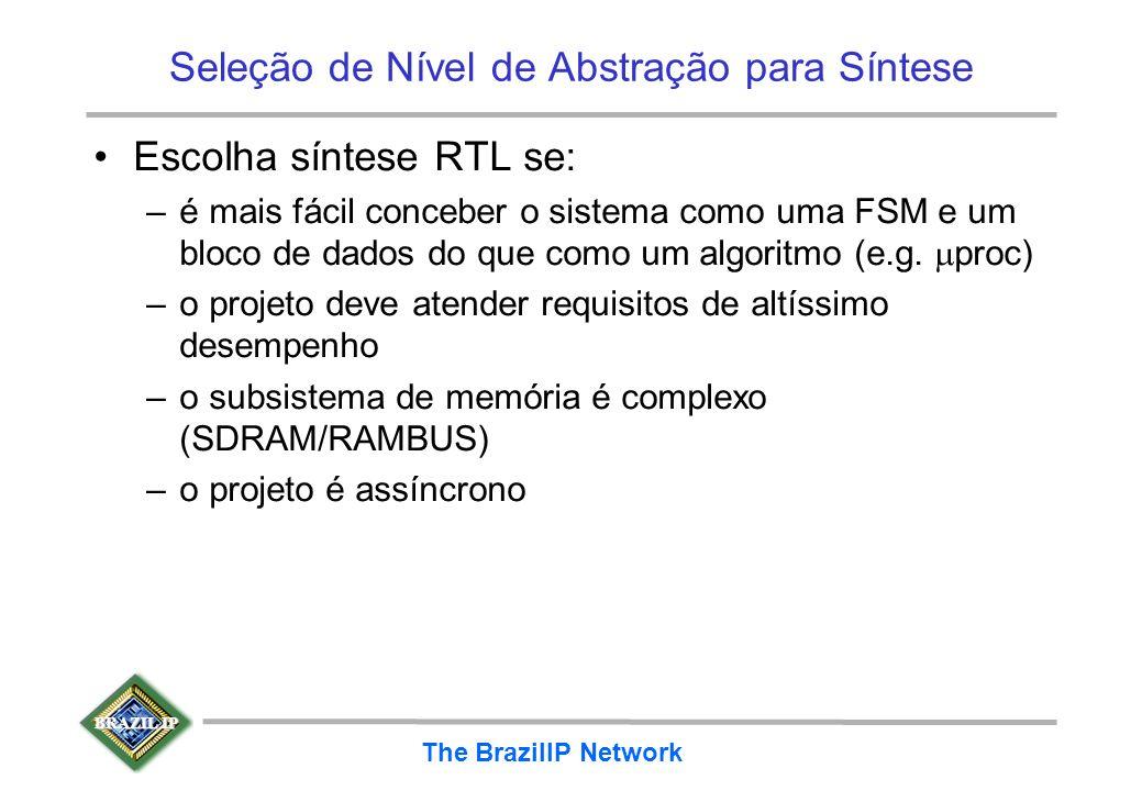 BRAZIL IP The BrazilIP Network Seleção de Nível de Abstração para Síntese Escolha síntese RTL se: –é mais fácil conceber o sistema como uma FSM e um b