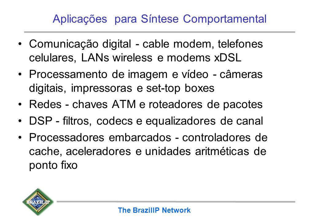 BRAZIL IP The BrazilIP Network Aplicações para Síntese Comportamental Comunicação digital - cable modem, telefones celulares, LANs wireless e modems x
