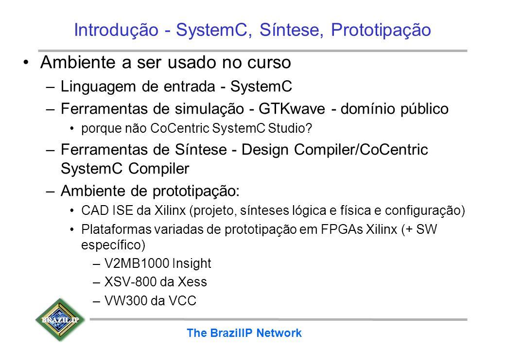 BRAZIL IP The BrazilIP Network Introdução - SystemC, Síntese, Prototipação Ambiente a ser usado no curso –Linguagem de entrada - SystemC –Ferramentas