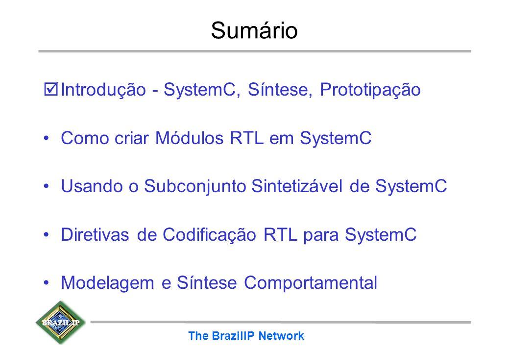 BRAZIL IP The BrazilIP Network Sumário þIntrodução - SystemC, Síntese, Prototipação Como criar Módulos RTL em SystemC Usando o Subconjunto Sintetizáve
