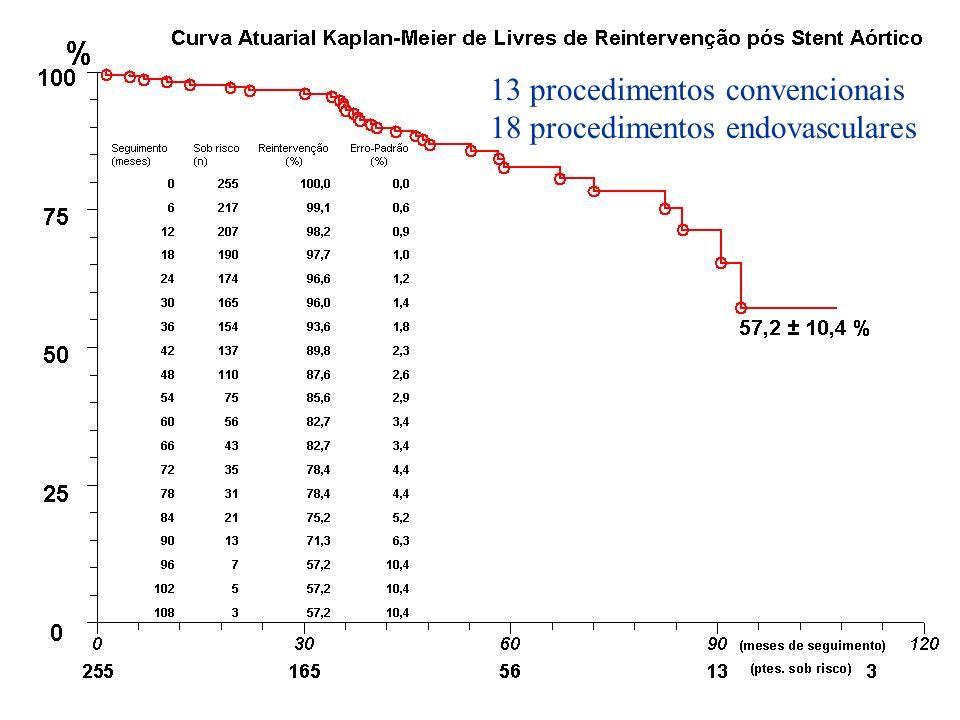 13 procedimentos convencionais 18 procedimentos endovasculares