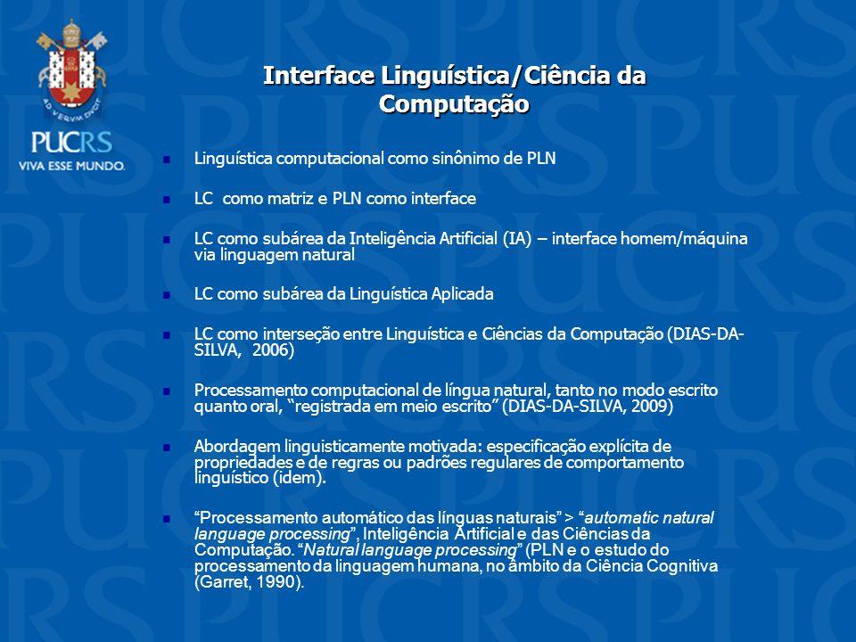 Interface Linguística/Ciência da Computação Linguística computacional como sinônimo de PLN LC como matriz e PLN como interface LC como subárea da Inte