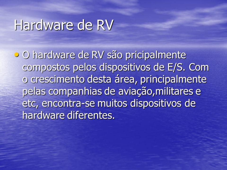 Hardware de RV O hardware de RV são pricipalmente compostos pelos dispositivos de E/S. Com o crescimento desta área, principalmente pelas companhias d