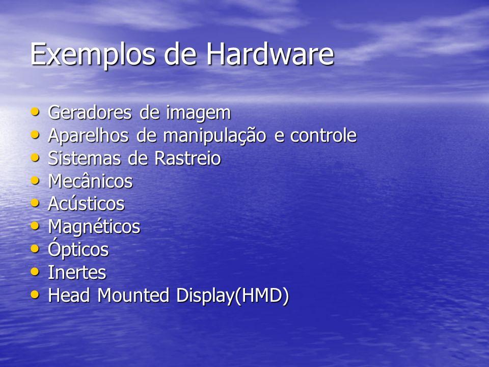Exemplos de Hardware Geradores de imagem Geradores de imagem Aparelhos de manipulação e controle Aparelhos de manipulação e controle Sistemas de Rastr