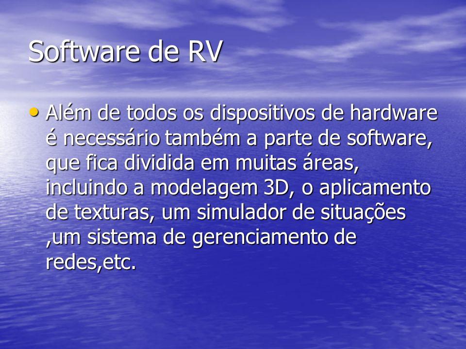 Software de RV Além de todos os dispositivos de hardware é necessário também a parte de software, que fica dividida em muitas áreas, incluindo a model