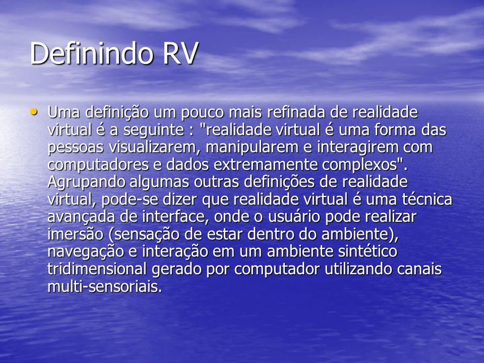 Definindo RV Uma definição um pouco mais refinada de realidade virtual é a seguinte :
