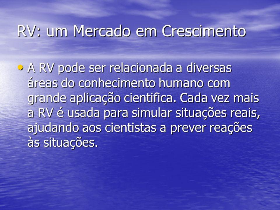 RV: um Mercado em Crescimento A RV pode ser relacionada a diversas áreas do conhecimento humano com grande aplicação cientifica. Cada vez mais a RV é