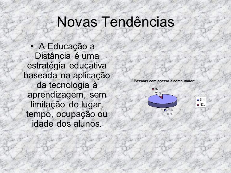 Novas Tendências A Educação a Distância é uma estratégia educativa baseada na aplicação da tecnologia à aprendizagem, sem limitação do lugar, tempo, o