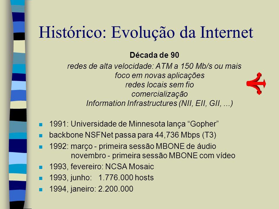 Internet: Evolução >>Tendências n 1995, janeiro: 4.900.000 hosts n 1996, janeiro: 9.500.000 hosts n …