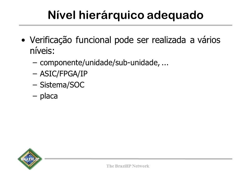 BRAZIL IP The BrazilIP Network BRAZIL IP The BrazilIP Network Nível hierárquico adequado Verificação funcional pode ser realizada a vários níveis: –componente/unidade/sub-unidade,...