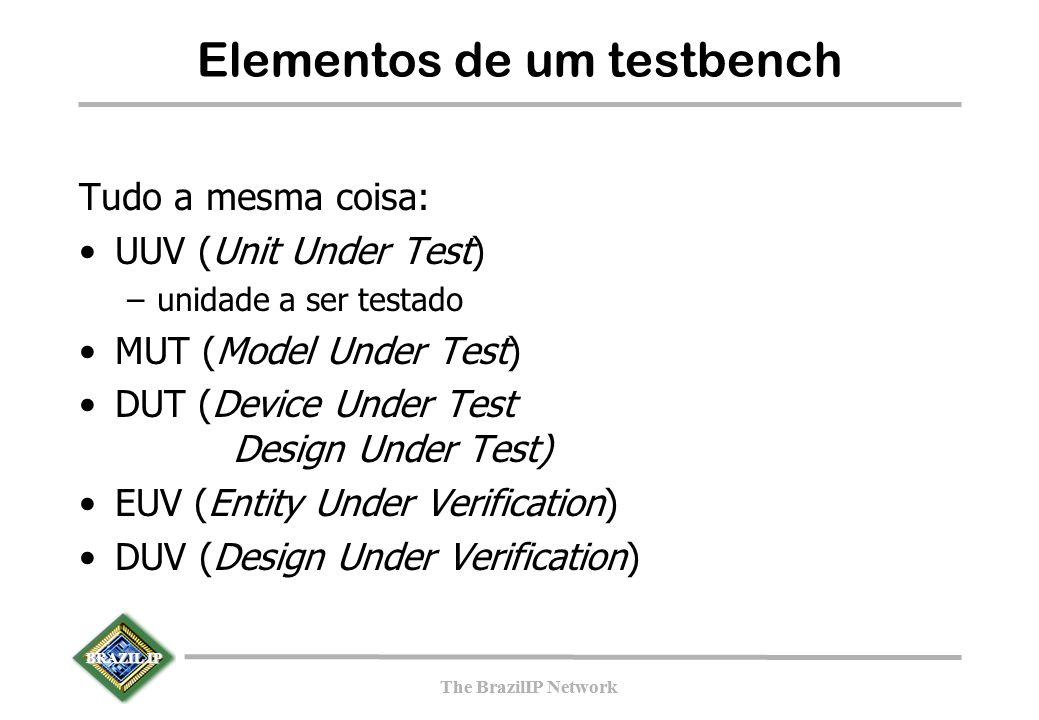 BRAZIL IP The BrazilIP Network BRAZIL IP The BrazilIP Network Elementos de um testbench Tudo a mesma coisa: UUV (Unit Under Test) –unidade a ser testado MUT (Model Under Test) DUT (Device Under Test Design Under Test) EUV (Entity Under Verification) DUV (Design Under Verification)