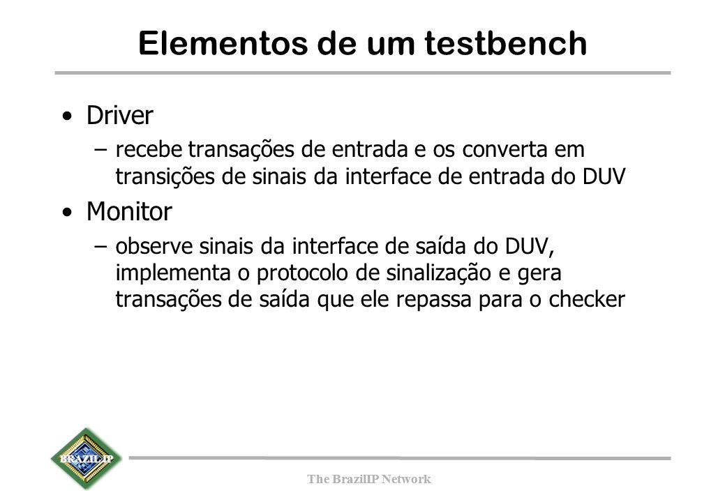 BRAZIL IP The BrazilIP Network BRAZIL IP The BrazilIP Network Elementos de um testbench Driver –recebe transações de entrada e os converta em transições de sinais da interface de entrada do DUV Monitor –observe sinais da interface de saída do DUV, implementa o protocolo de sinalização e gera transações de saída que ele repassa para o checker