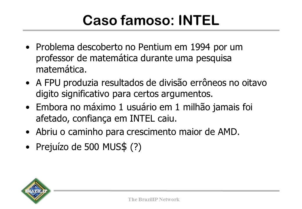 BRAZIL IP The BrazilIP Network BRAZIL IP The BrazilIP Network Caso famoso: INTEL Problema descoberto no Pentium em 1994 por um professor de matemática durante uma pesquisa matemática.
