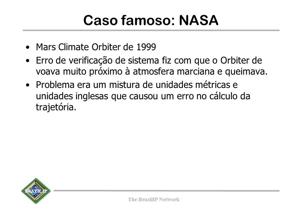 BRAZIL IP The BrazilIP Network BRAZIL IP The BrazilIP Network Caso famoso: NASA Mars Climate Orbiter de 1999 Erro de verificação de sistema fiz com que o Orbiter de voava muito próximo à atmosfera marciana e queimava.