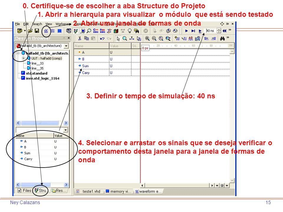 15Ney Calazans 2. Abrir uma janela de formas de onda 3. Definir o tempo de simulação: 40 ns 1. Abrir a hierarquia para visualizar o módulo que está se