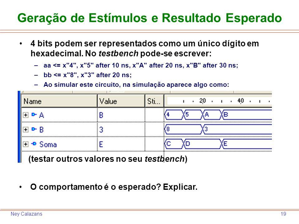 19Ney Calazans Geração de Estímulos e Resultado Esperado 4 bits podem ser representados como um único dígito em hexadecimal. No testbench pode-se escr