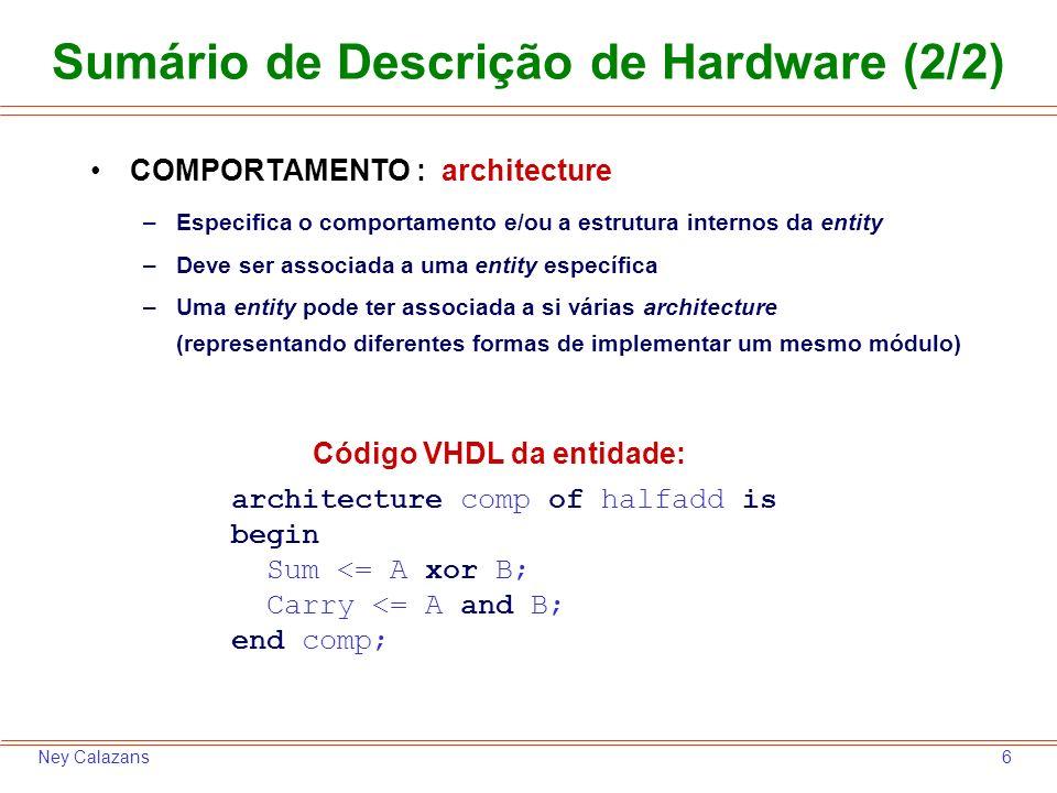 6Ney Calazans COMPORTAMENTO : architecture –Especifica o comportamento e/ou a estrutura internos da entity –Deve ser associada a uma entity específica