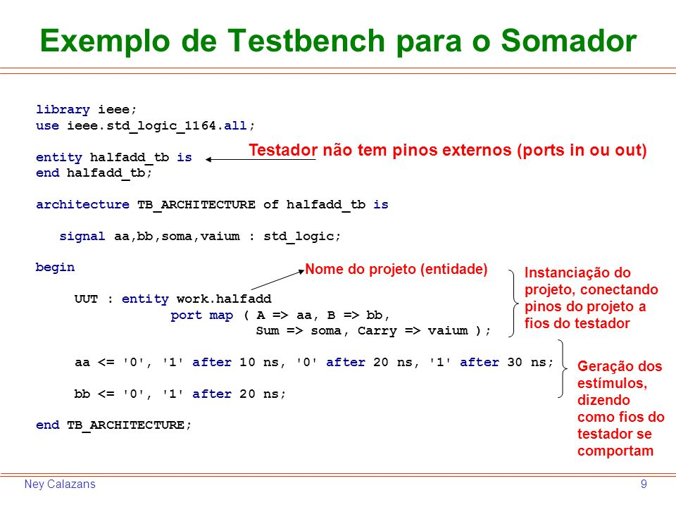 9Ney Calazans Exemplo de Testbench para o Somador library ieee; use ieee.std_logic_1164.all; entity halfadd_tb is end halfadd_tb; architecture TB_ARCHITECTURE of halfadd_tb is signal aa,bb,soma,vaium : std_logic; begin UUT : entity work.halfadd port map ( A => aa, B => bb, Sum => soma, Carry => vaium ); aa <= 0 , 1 after 10 ns, 0 after 20 ns, 1 after 30 ns; bb <= 0 , 1 after 20 ns; end TB_ARCHITECTURE; Testador não tem pinos externos (ports in ou out) Instanciação do projeto, conectando pinos do projeto a fios do testador Geração dos estímulos, dizendo como fios do testador se comportam Nome do projeto (entidade)