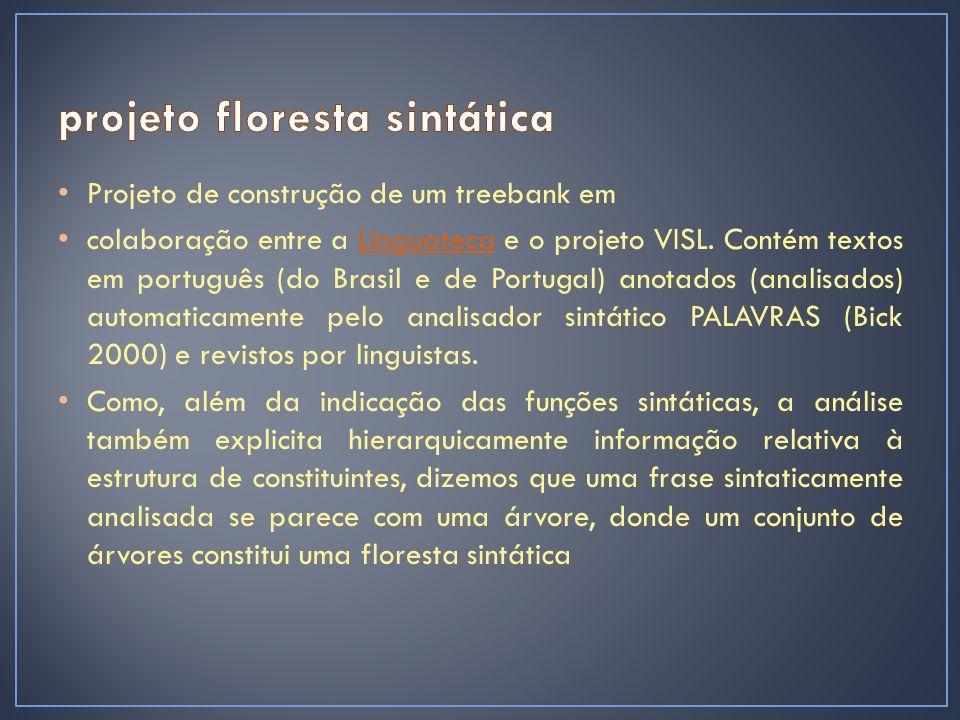 Projeto de construção de um treebank em colaboração entre a Linguateca e o projeto VISL.